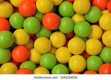 Small Plastic Colorful Balls At Children Playroom