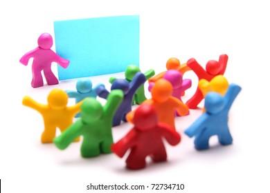small plasticine pupils in school with blank board