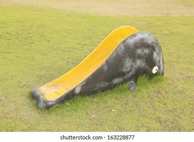 small playground slider in the garden