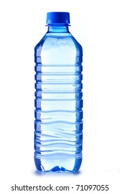 Small polycarbonate plastic bottle of mineral water isolated on white background