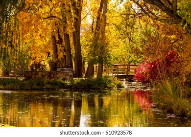 Small pond with wooden bridge surrounded by brilliant changing fall colors