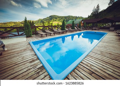 Small pool for relaxing at a mountain resort