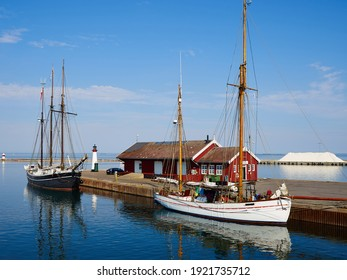 The small port harbor of Assens in the west coast of Funen Denmark