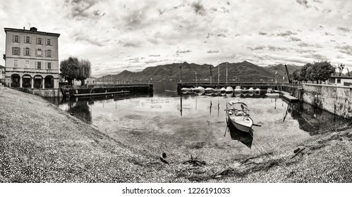 small port of Luino, monochromatic landscape during a gray autumn day