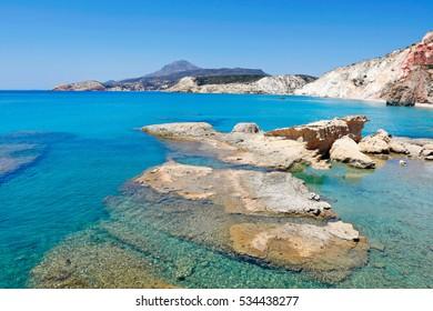 A small port near the beach Fyriplaka in Milos, Greece