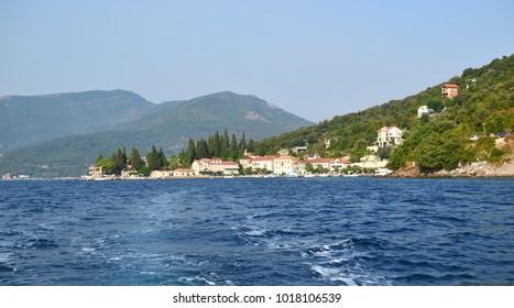 Small port of Rose, Herceg-Novi, Montenegro, shot from sea
