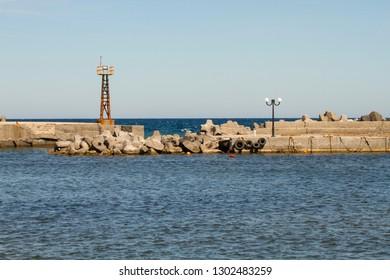 Small port in Santorini Greece