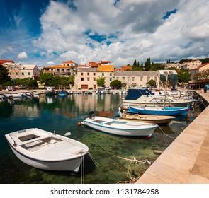 Small port town of Sumartin on Brac island, Croatia.