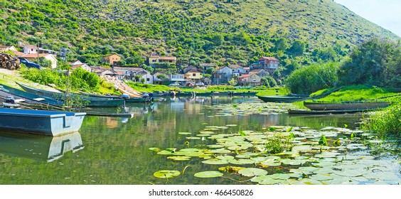 The small port of Vranjina village on the Moraca River, Montenegro.