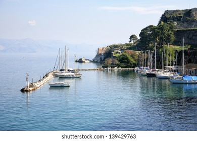 small port with yacht boats in corfu greece