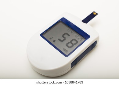 Small portable digital blood glucose meter for use by a diabetic to self monitor and medicate the disease with blood lancets to prick a finger. Data at low blood sugar level