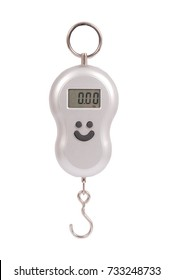 Small portable electronic scale isolated on a white background
