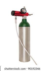Small portable oxygen cylinder for mobile emphysema patients, also used to treat COPD and asthma. Isolated on white with a clipping path.