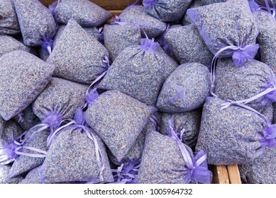 Small pouches of lavender flowers for sale on a market in provence france