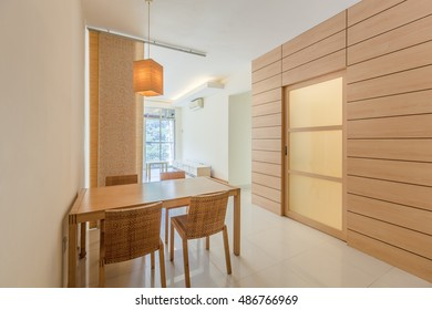 Small practical apartment dining and living interior space