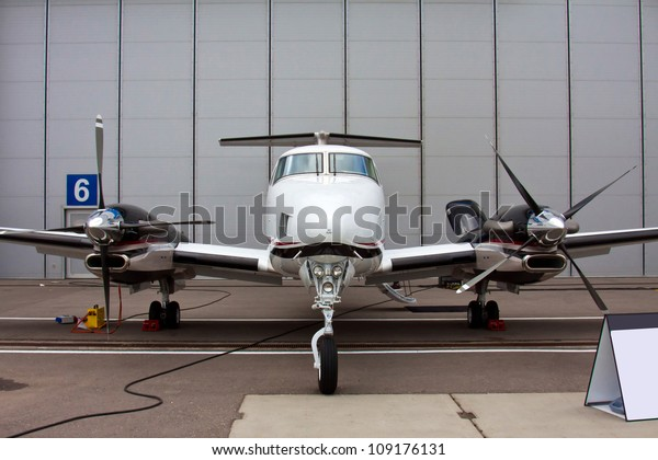 small private propeller aircraft with two engine