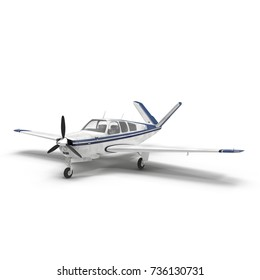 small propeller airplane isolated on white. 3D illustration