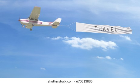 Small propeller airplane towing banner with TRAVEL caption in the sky. 3D rendering