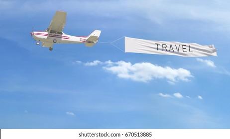Banner de reboque de avião de hélice pequena com legenda de viagem no céu. renderização 3D