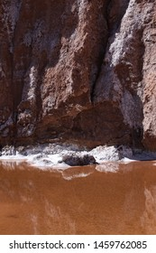 Small puddle of salt lake with deposit as a crust of salt