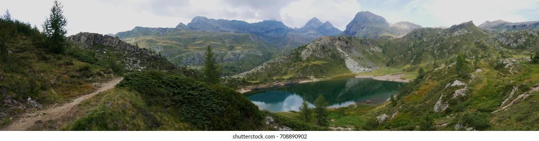 Small pure alpine lake on the Bergamo Alps, northern Italy