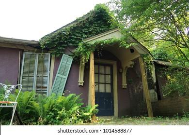 Small purple abandoned house. Daytime. Summer.