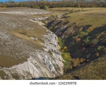 A small ravine in the steppe area. Voronezh region, Russia