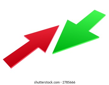small red arrow against big green arrow