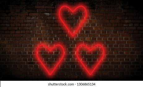 Small red hearts neon sign