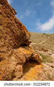 Small red rock in Crimea
