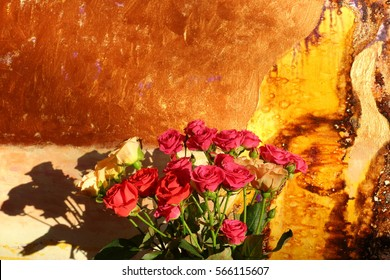 small red roses, bouquet of roses, white roses, background, Woman's Day, Valentine's Day, holidays, roses in the background, texture oil painting, vivid bright colors, painting, artist Roman Nogin