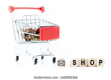 A small red shopping cart with the cubes and store icon. Background white