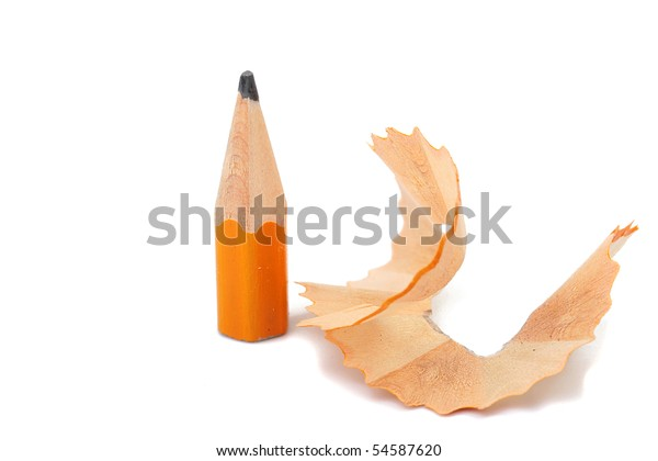 The small rest of a pencil after sharpening on a white background.