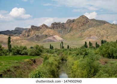 Small river in the anatolia plateau,turkey