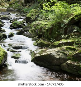 small river Ilse waterfalls floating through magical forest in german national Park Harz