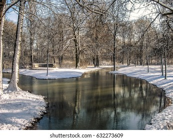 The small river in park covered by snow in Munich (Germany) during winter 2010.