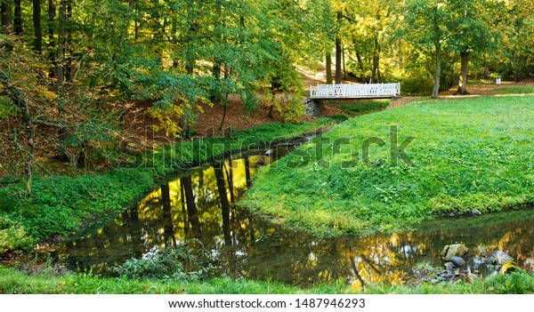 Small river in the park in the summertime.
