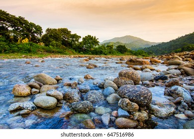 Small river with stone at Ban Khiri Wong village, Nakhon Si Thammarat, Thailand, landscape