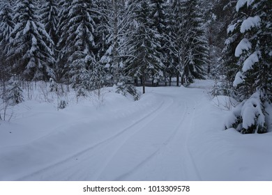 Small road covered with Snow
