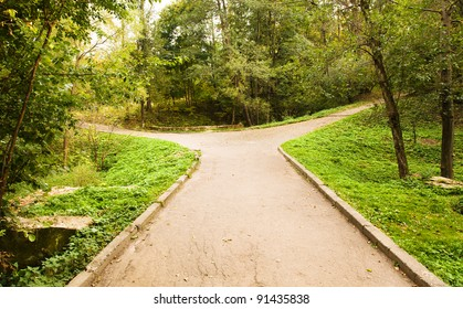 Small road to the park, forking divergently. The photo is made in the autumn - October