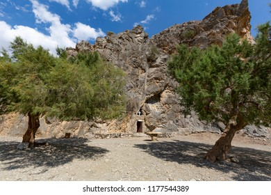 The small rock church Panagia Tripiti inside the Tripiti gorge, Crete, Greece