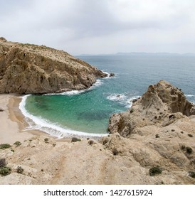 Small rocky bay with fine sand on the island of Samothraki in Greece, Europe
