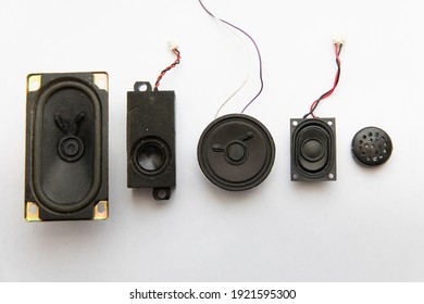 Small round sound speakers for laptop, tape recorder, speakers. Radio components.
