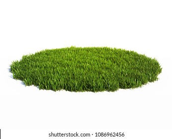 Small round surface covered with grass, grass podium, lawn background 3d rendering