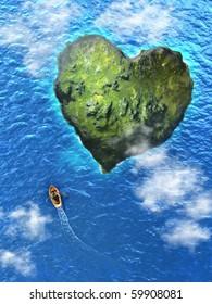 Small rowboat heading to an heart shaped island. Digital illustration.