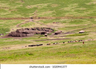 Small Rural African Village with Traditional Manyattas (Huts) and Animal Herd