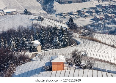 Small rural house on snowy winter hill among vineyards in Piedmont, Northern Italy.