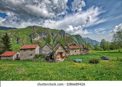 Small rural village of the Bergamo Alps in Taleggio valley. Where cheese is produced.