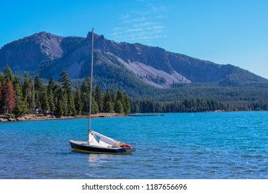 Small sailboat on East Lake, Newberry Volcano, Bend, Oregon