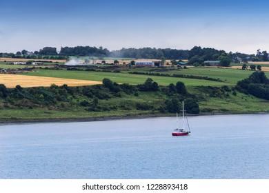 Small sailboat on the Moray Firth near Inveness, Scotland.